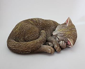 Gato acostado de piedra para decoración de jardín. Pintado a mano, producto nacional.: Amazon.es: Jardín