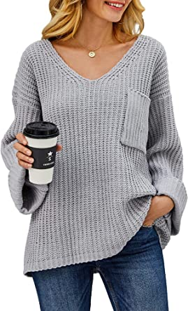 Saodimallsu Womens Oversized V Neck Sweaters Casual Long Bell Sleeve Loose Fall Pullover Knit Jumper
