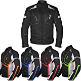 Motorcycle Jacket For Men Textile Motorbike Dualsport Enduro Motocross Racing Biker Riding CE Armored Waterproof All-Weather Medium All-black