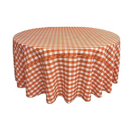 LA Linen Poly Checkered Round Tablecloth, 120 Inch, Orange/White