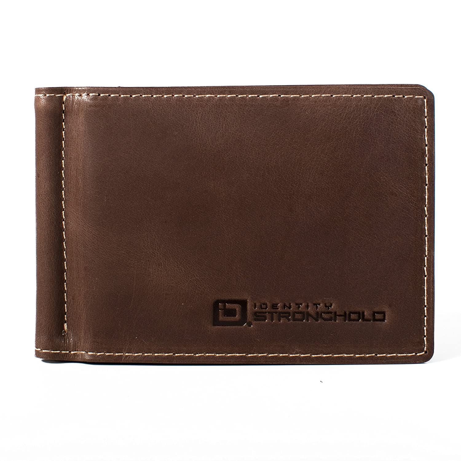 Brown Minimalist Wallet Protective Wallets for Men RFID Money Clip with ID RFID Wallets with Excellent Quality Leather