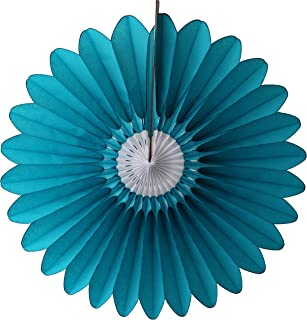 product image for 6-Pack 18 Inch Tissue Paper Fanburst Flower Decoration (Teal/White)