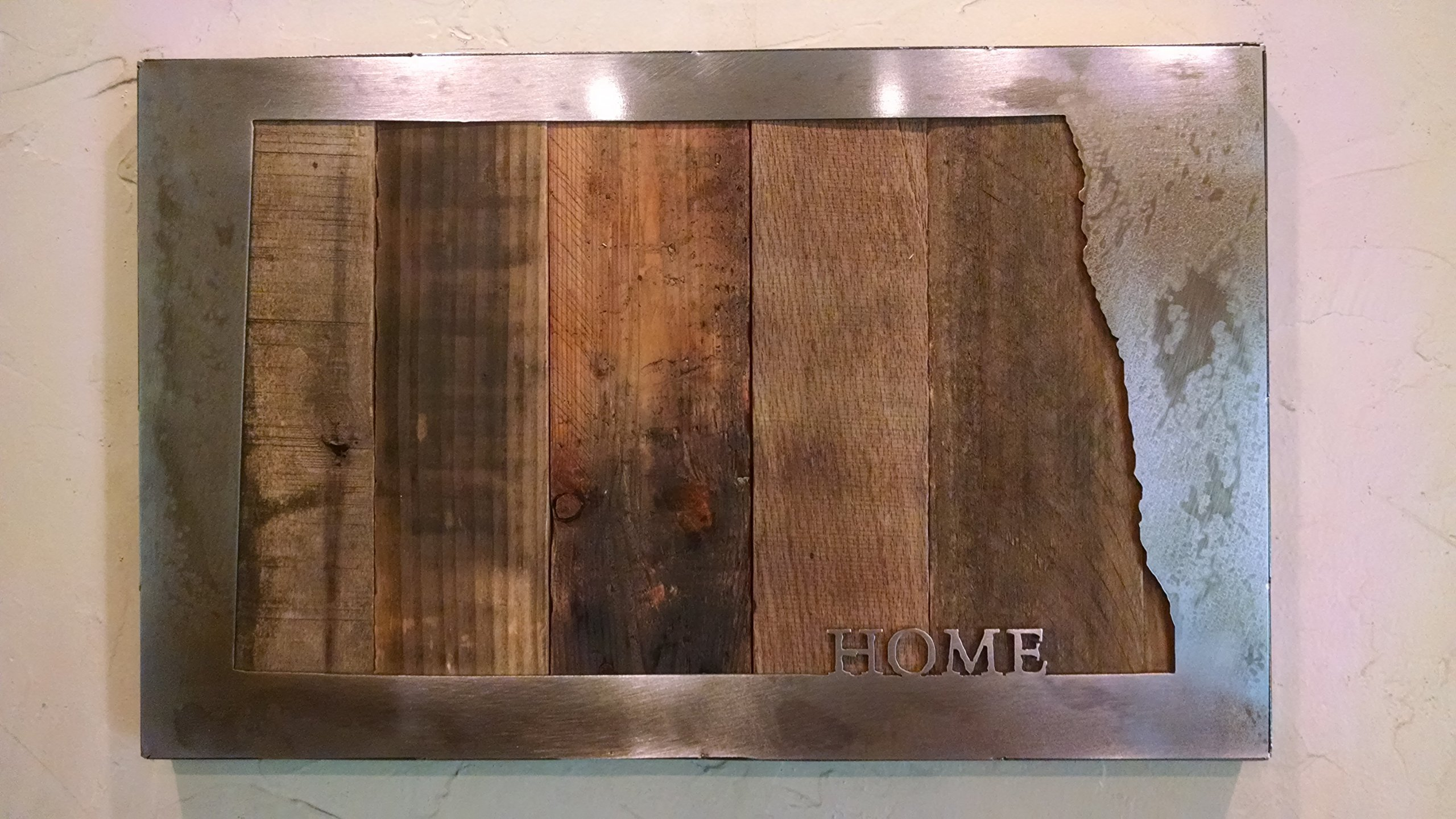 Custom State Map with ''HOME'' - State Love - Metal Art - Reclaimed Wood and Aged Steel