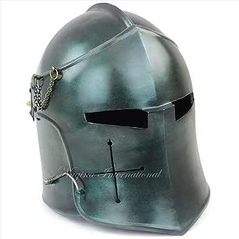 Nagina International Medieval Barbuta Visored Brushed Steel Knights Armory Templar Crusader's Helmet   Props & Costumes Helm for Larpers (Army Green)