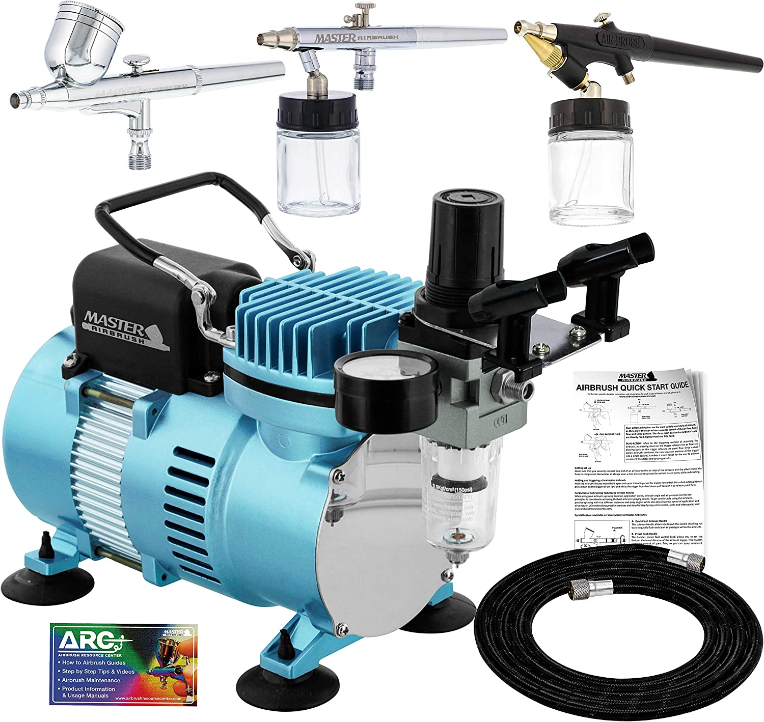 Master Airbrush Cool Runner II Dual Fan Air Compressor Professional Airbrushing System Kit with 3 Airbrush Sets, 0.3 mm Gravity & 0.35, 0.8 mm Siphon Feed - Hose Holder, How To Airbrush Learning Guide: Home & Kitchen