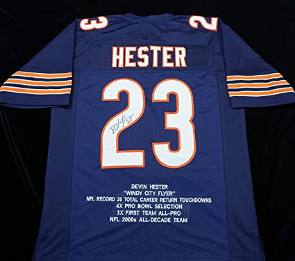 Devin Hester Signed Autographed Blue Football Stat Jersey with JSA ...