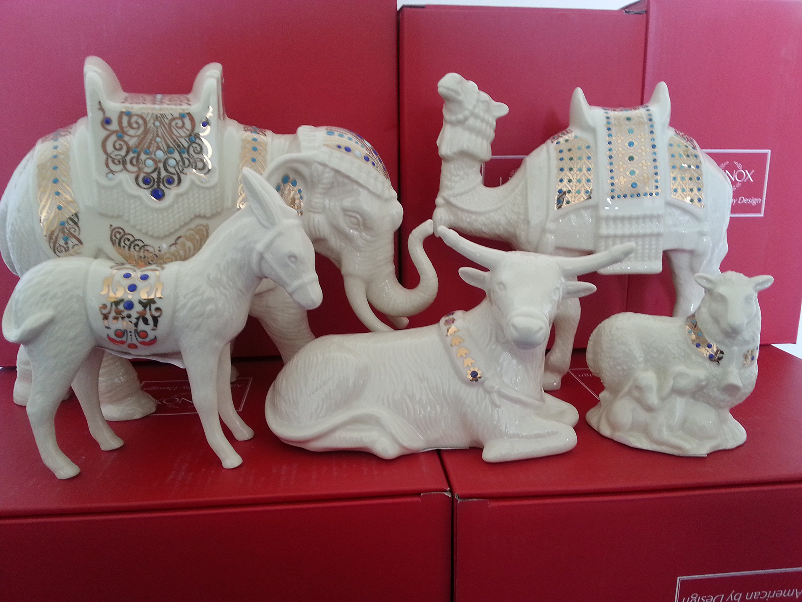 Lenox China Jewels Nativity Animals Figurines Elephant Camel Ox Sheep Donkey Set of 5