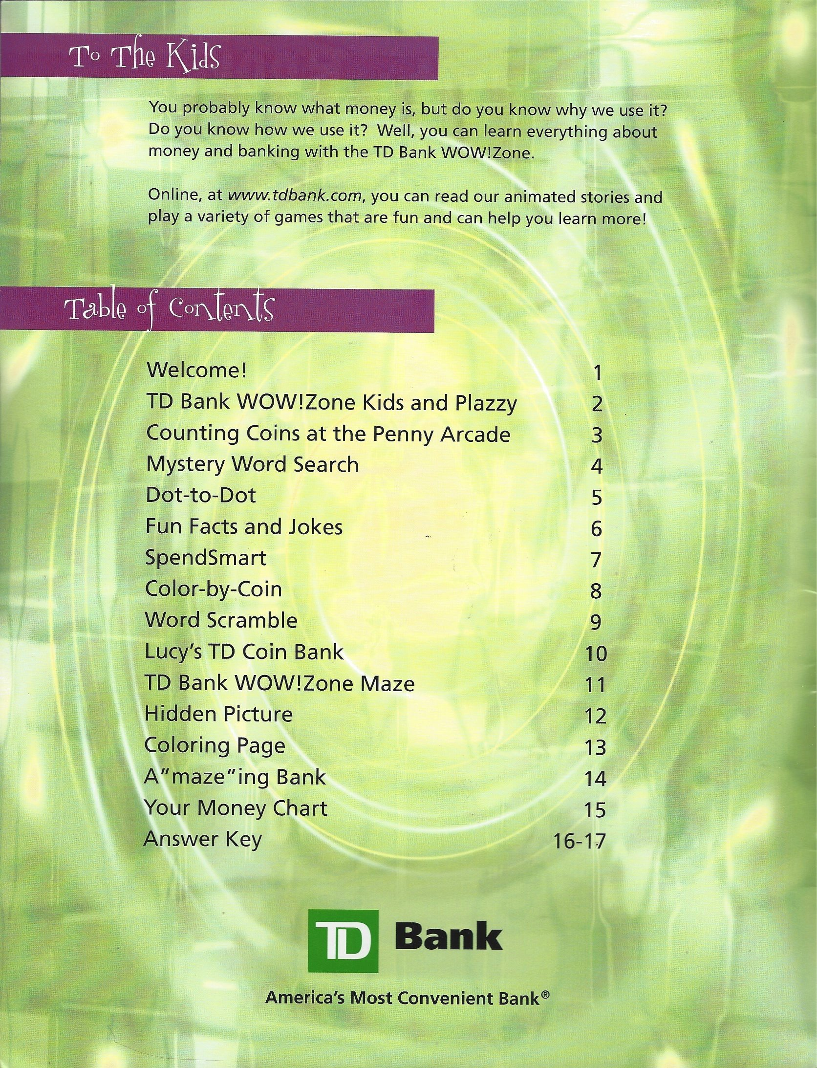 Activity Book from the TD Bank, Wow! Zone: TD Bank: Amazon