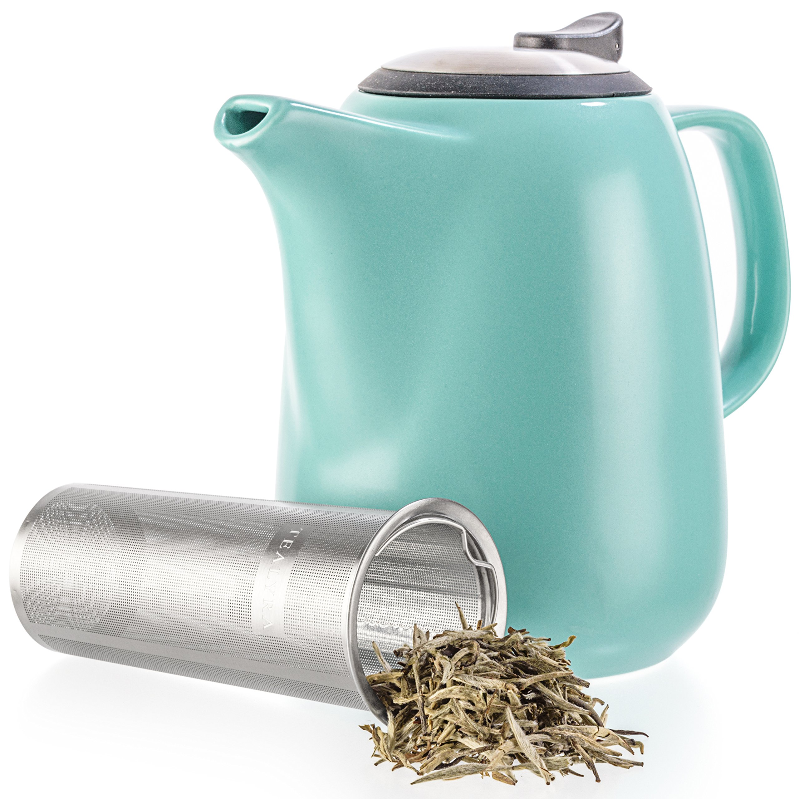 Tealyra - Daze Ceramic Large Teapot Turquoise - 47-ounce (6-7 cups) - With Stainless Steel Lid Extra-Fine Infuser for Loose Leaf Tea - 1400ml