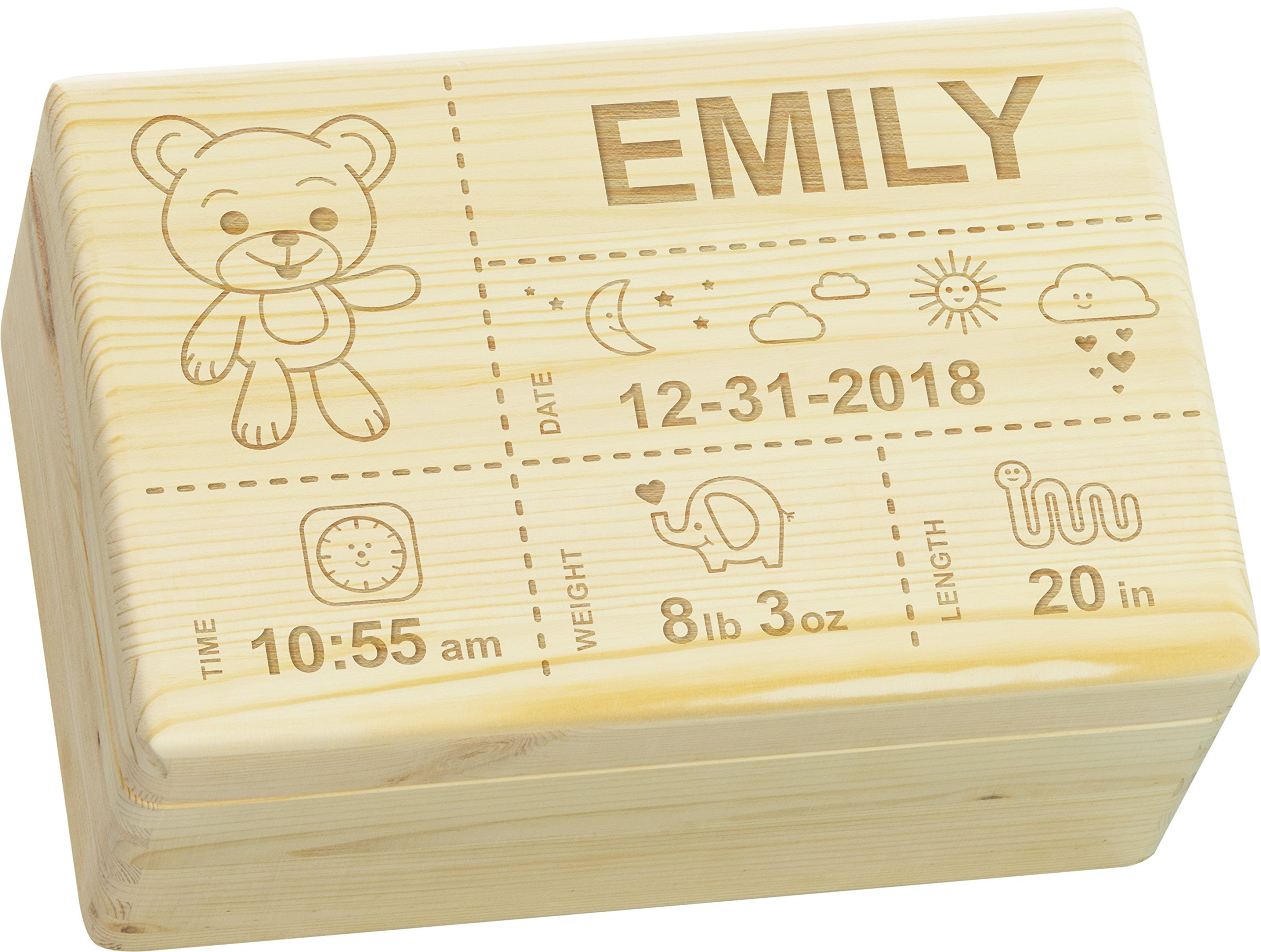 LAUBLUST Engraved Wooden Memory Box - Size L, 12x8x6in - ❤️ Personalized ❤️ Baby Keepsake Box - Teddy Design | Natural Wood - Made in Germany by LAUBLUST