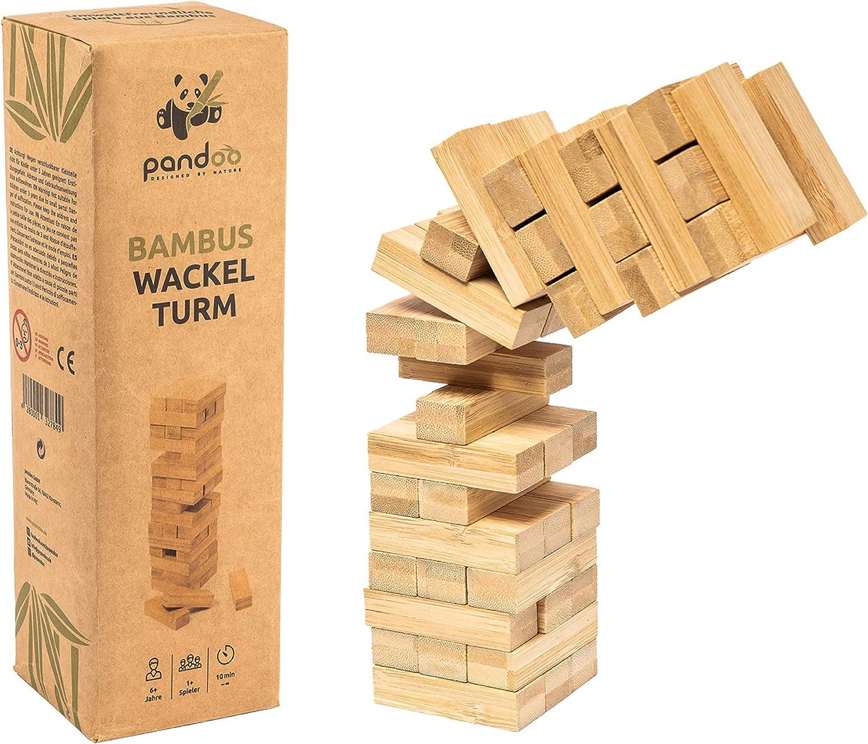PANDOO- Torre tambaleante - Juegos de Bambu Mesa, Multicolor (00993): Amazon.es: Juguetes y juegos