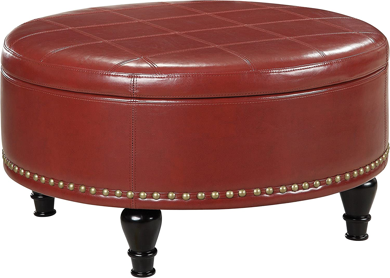 INSPIRED by Bassett Augusta Eco Leather Round Storage Ottoman with Brass Color Nail Head Trim and Deep Espresso Legs, Crimson Red