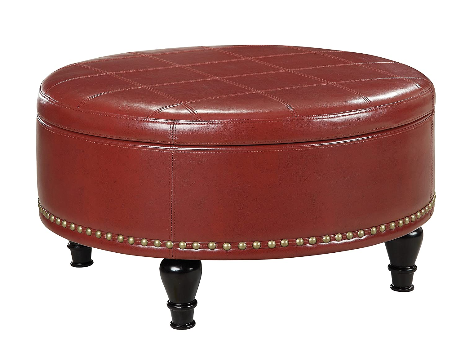 amazoncom office star augusta eco leather round storage ottoman with brass color nail head trim and deep espresso legs crimson red kitchen u0026 dining