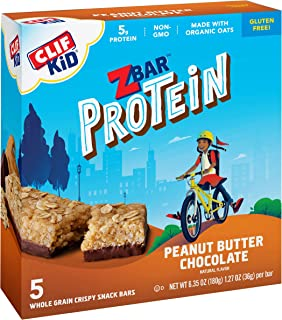 product image for CLIF KID ZBAR - Protein Granola Bars - Peanut Butter Chocolate Flavor - Non-GMO - Organic -Lunch Box Snacks (1.27 Ounce Energy Bars, 5 Count)