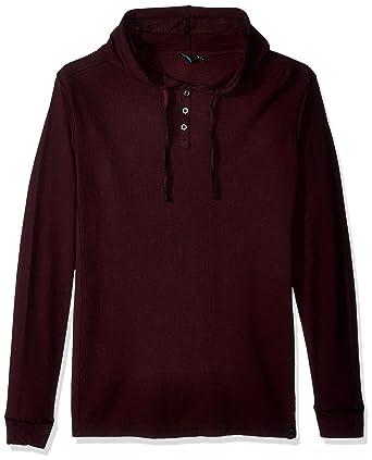 77c050575e Amazon.com  Burnside Men s Izzy Long Sleeve Henley Thermal Hooded Shirt