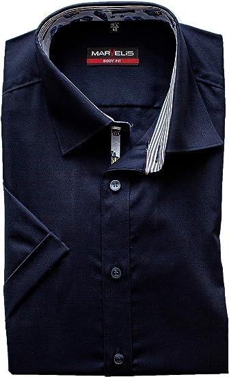 Marvelis Body Fit Camisa de media manga New Kent cuello azul noche albaricoque 42: Amazon.es: Ropa y accesorios
