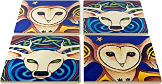 product image for Celtic Barn Owl and White Deer Coasters - Original Paintings by Christi Sobel - Set of 4 Wooden Coasters