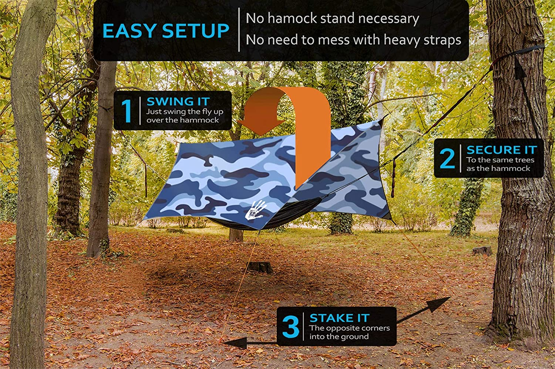 Lightweight Rain Fly EVOLUTION 12x10//10x10 Hammock Waterproof Tent TARP /& Survival Bracelet Perfect Hammock Shelter 22 pcs Multiple Colors Backpacking Approved