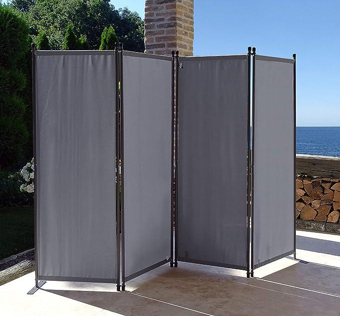 QUICK STAR Paravent 220 x 165 cm Tejido Divisor de habitación Jardín 4-Partición Pared de separación Plegable Balcón Pantalla de privacidad Gris: Amazon.es: Jardín