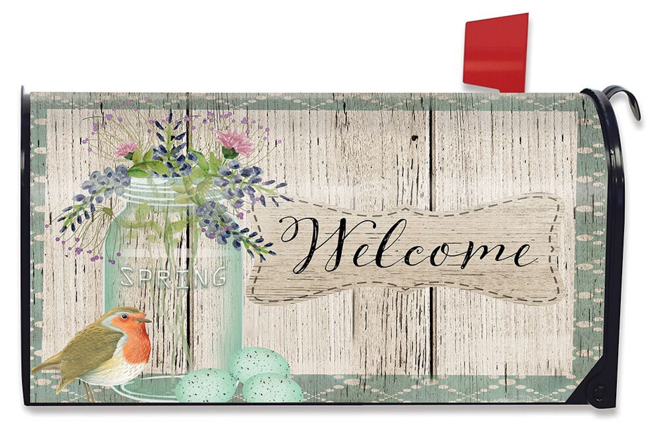 Briarwood Lane Springtime Welcome Floral Mailbox Cover Rustic Mason Jar Bird Eggs Standard