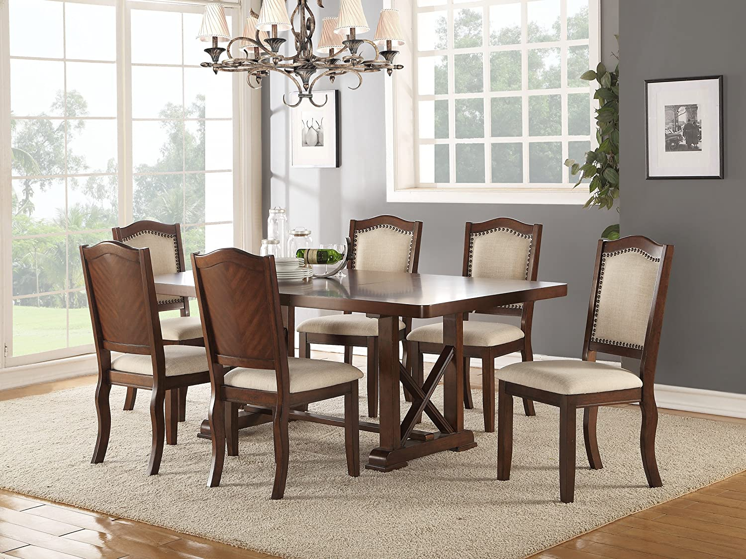 Dining room formal look classic 7pc set dark cherry dining table rubber wood faux leather cream cushion seat unique side chairs kitchen dining furniture