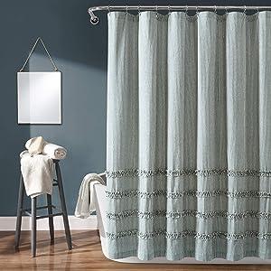 "Lush Decor, Denim Blue Vintage Stripe Yarn Dyed Cotton Shower Curtain, 72"" x 72"""