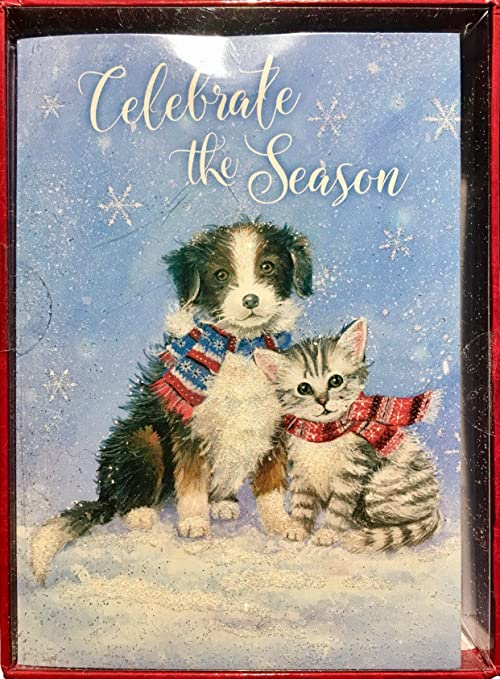 crown point graphics boxed 24 fully decorated glitter christmas cards snowflake puppy kitten with