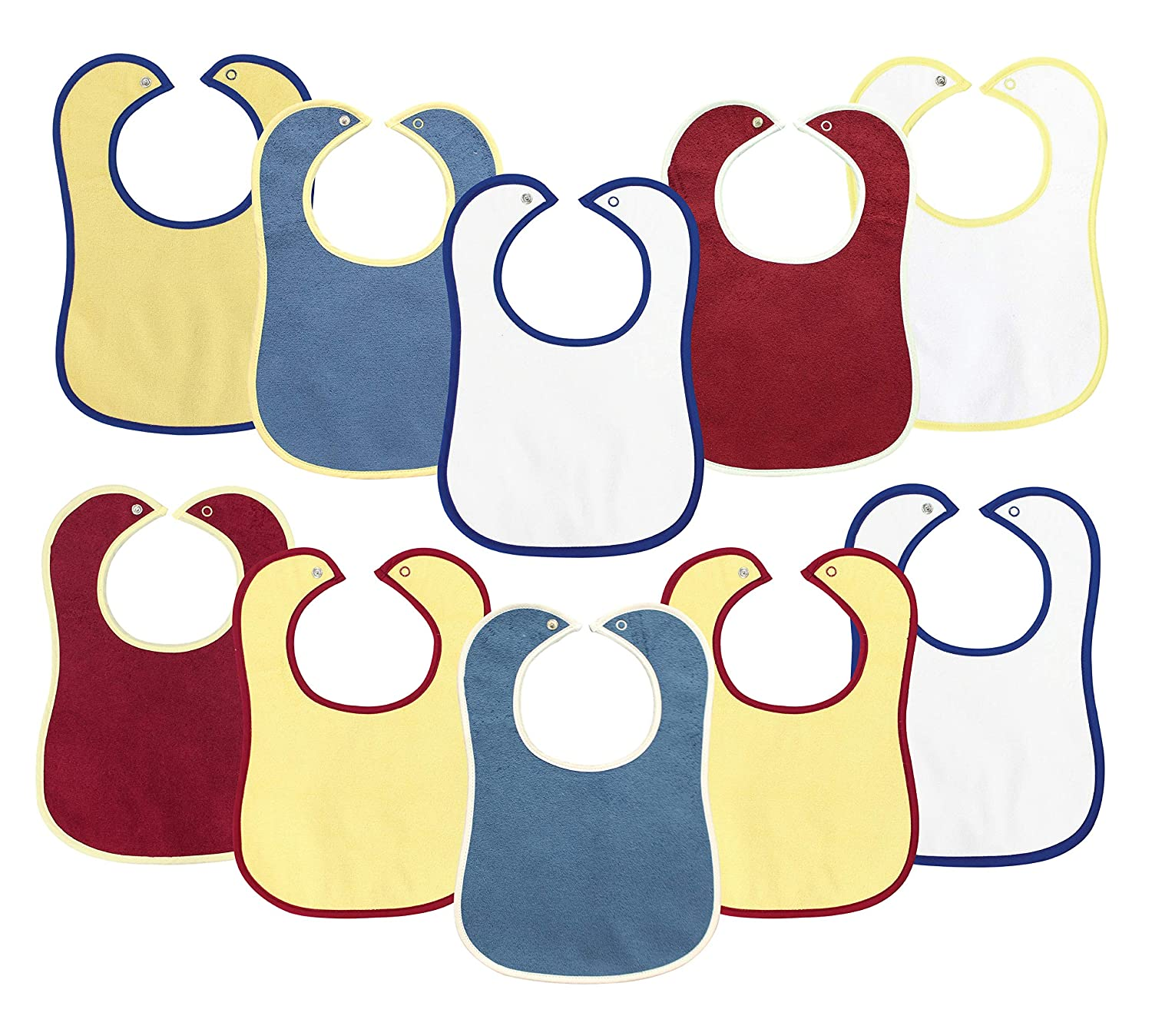 10 Pack Baby Bibs BornCare 3 Layer Drool Waterproof 6-24 Months Bibs, Baby boy or Girl Super Absorbent Bibs with snap for Drooling and Teething, 100% Cotton 13x9, Baby Shower Gift Set 91MbmwsBp-L