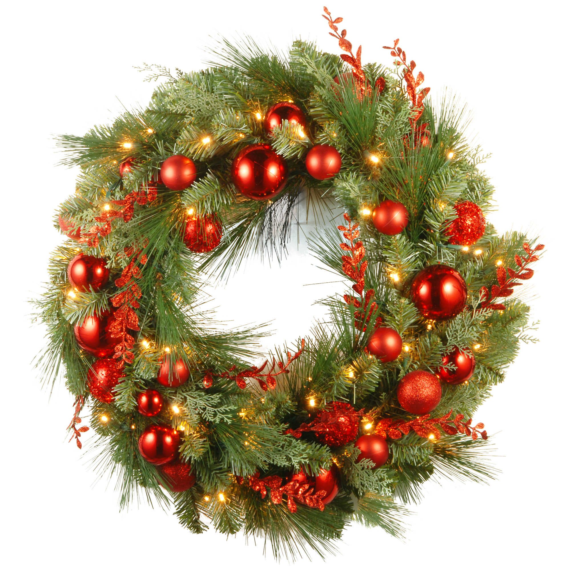 Pre-Lit LED 30-Inch Christmas Wreath in Red,Green