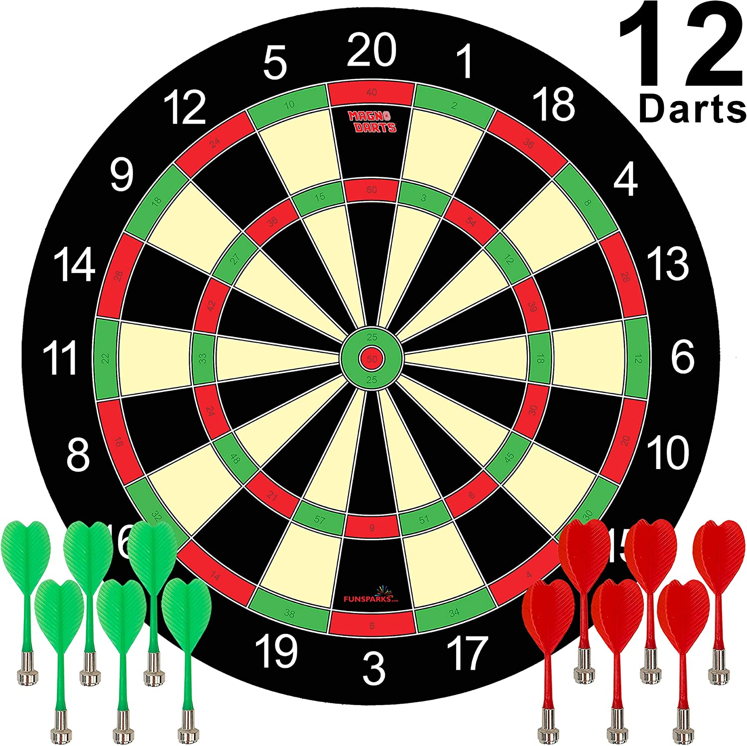 Magnetic Dart Board Game - 12 Darts - 6 Green and 6 Red Darts – Best Kids Toy Gift Indoor Outdoor Games for Family and Friends – Safe Dart Game Set: Toys & Games