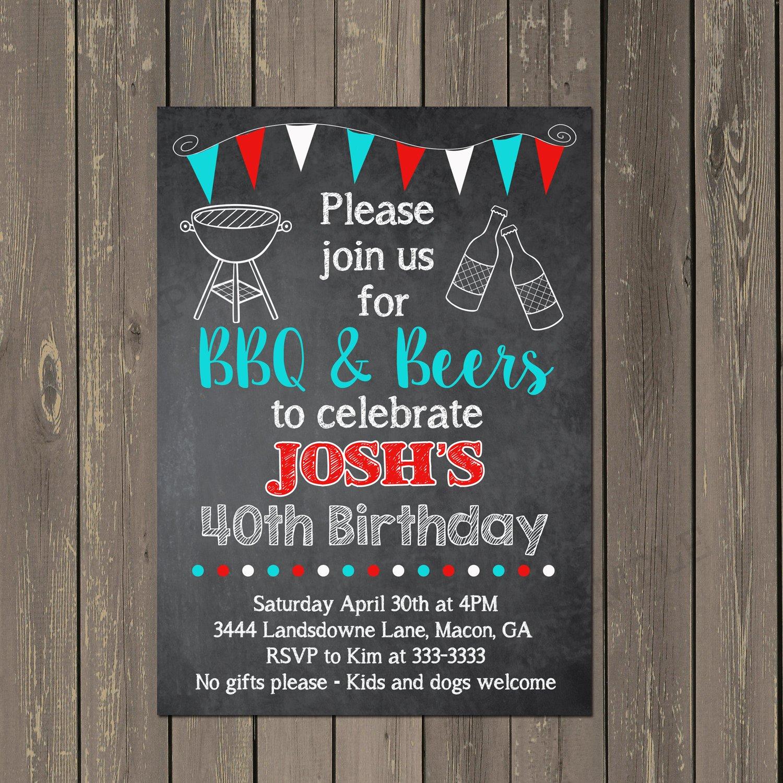 Amazon Beer And BBQ Birthday Invitation Beers Barbecue Adult Party Chalkboard Custom Handmade