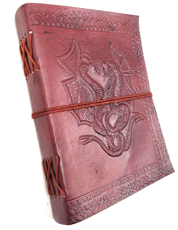 vintage Kooly Zen doppio drago vera pelle Taccuino con blocco note diario 13 x 17 cm libro carta premium