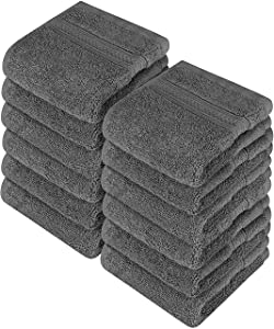 Utopia Towels Premium 700 GSM Cotton Washcloths - 12 Pack, Dark Grey, 12 x 12 Inches Extra Soft Wash Cloths