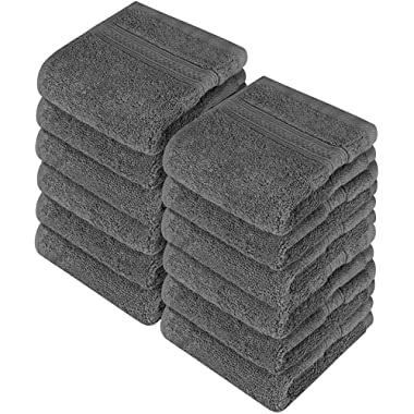 Utopia Towels Cotton Washcloths, 12 Pack, 700 GSM, Grey