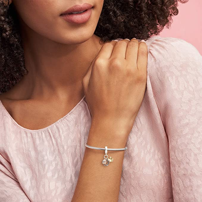 Pandora Jewelry Horseshoe, Clover and Ladybird Dangle Cubic Zirconia Charm  in Sterling Silver, 18CT Gold and 14K Rose Gold