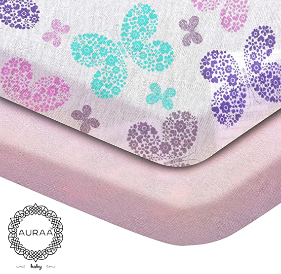 Amazon.com: AURAA Baby Fitted Crib Sheets Set, 2 Pack Crib Mattress Topper for Baby Boys Girls,Ultra Soft, Full Standard (Lilac/Multi Butterfly): Home & ...