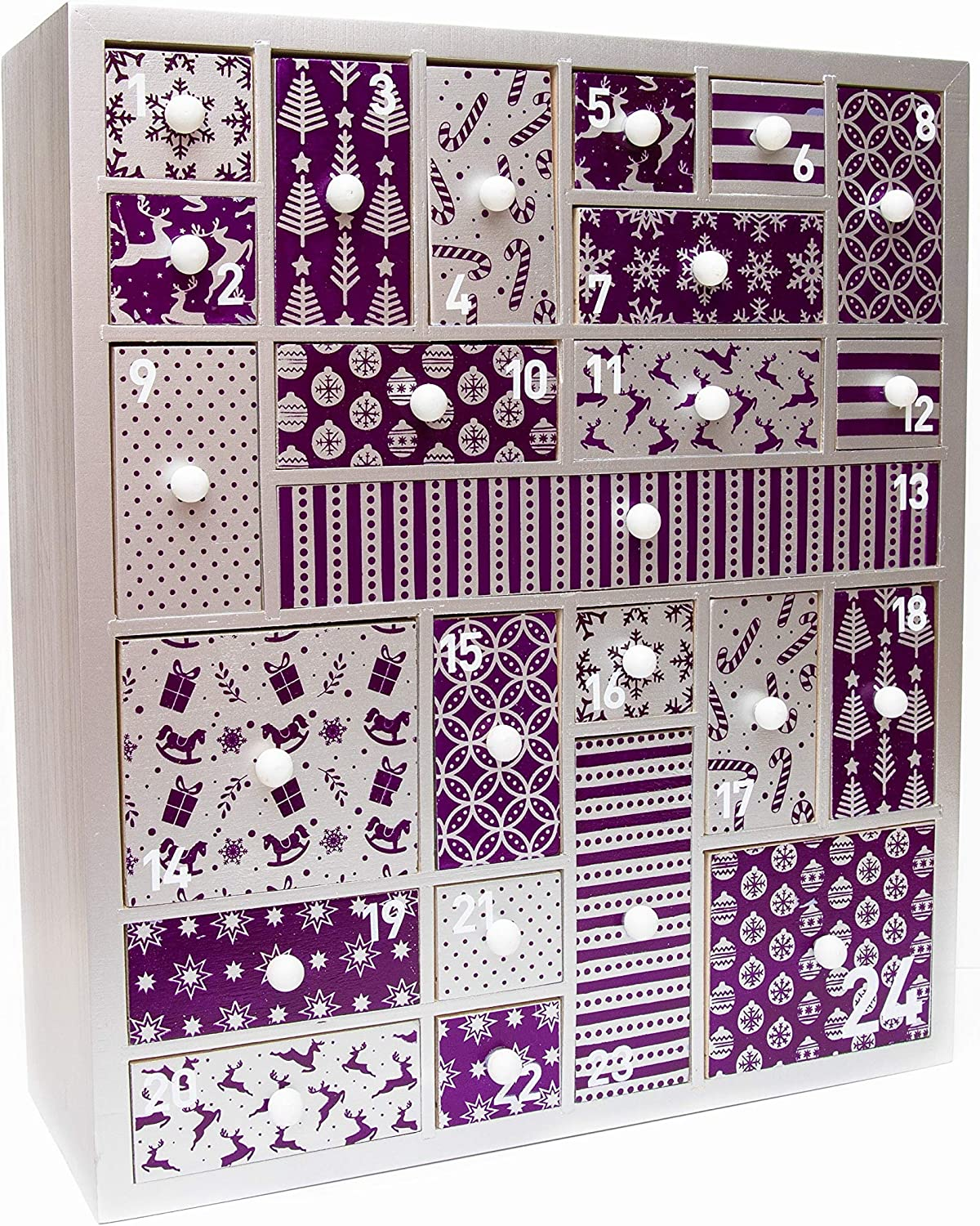 Purple Jewel Wooden Advent Calendar for Christmas 2019 - Advent Calendar for Girls, Women, Teens, Grandparents, Baby. Refillable advent suitable for beauty product, makeup, gifts, accessories