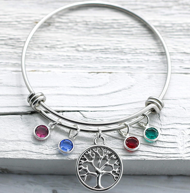 Up to 9 Birthstones Family Tree Birthstone Bangle Bracelet for Mom