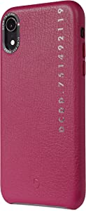 DECODED Back Cover for iPhone XR, Full-Grain Leather + Brushed Metal Buttons + Shock Proof, Design Case - (Pink)
