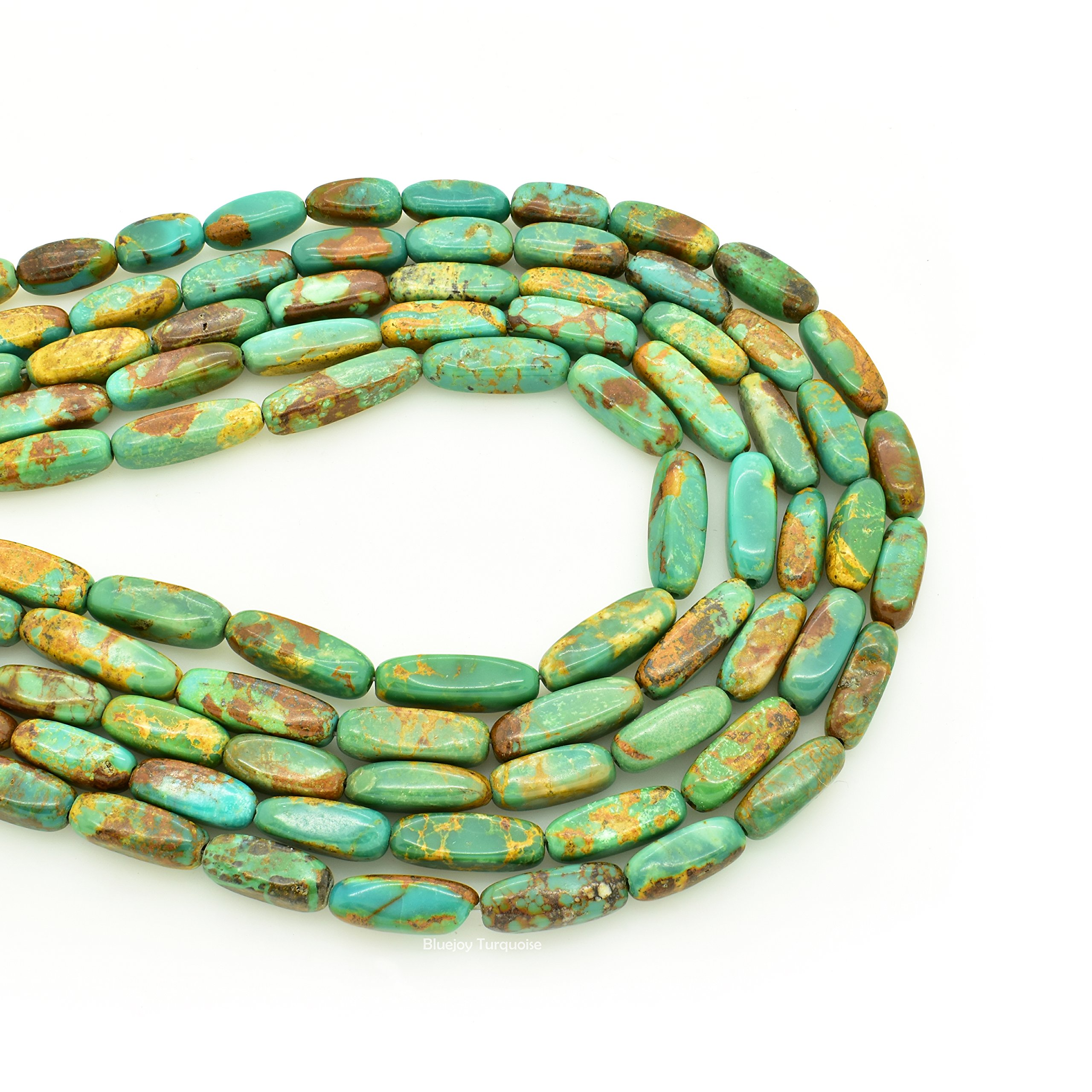 Bluejoy Genuine Natural American Turquoise Bar Shape Bead 16 inch Strand for Jewelry Making (5x12mm)