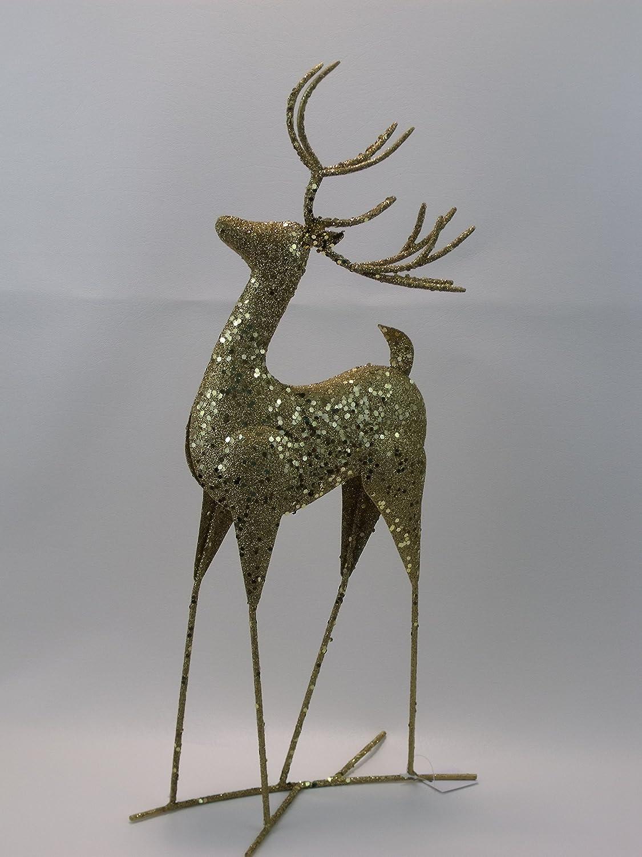 HEALLILY Christmas Reindeer Resin Sculpture Couple Deer Figurine Statue Home Office Decor 2pcs Bronze