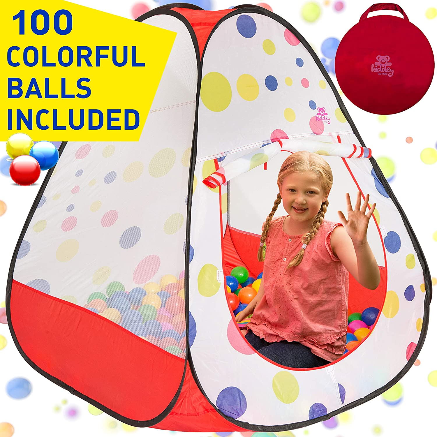 Kiddey Kids Ball Pit Play Tent - 100 Ball Pit Balls Included - Pops up No Assembly Required - Use as a Ball Pit or As an Indoor / Outdoor Play Tent, (Ball Pit with Balls)