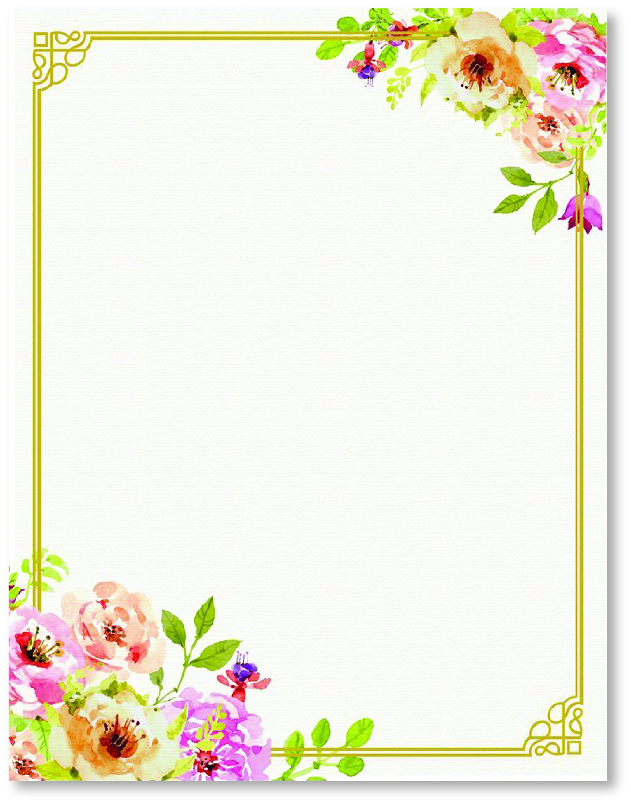 Stationery Writing Paper - Perfect Invitations for Bridal Showers, Birthdays, Weddings, Engagement Party, VIP and All Occasions - 100 Floral Letter Notes for DIY Invitation Kit - Pink and Peach Roses