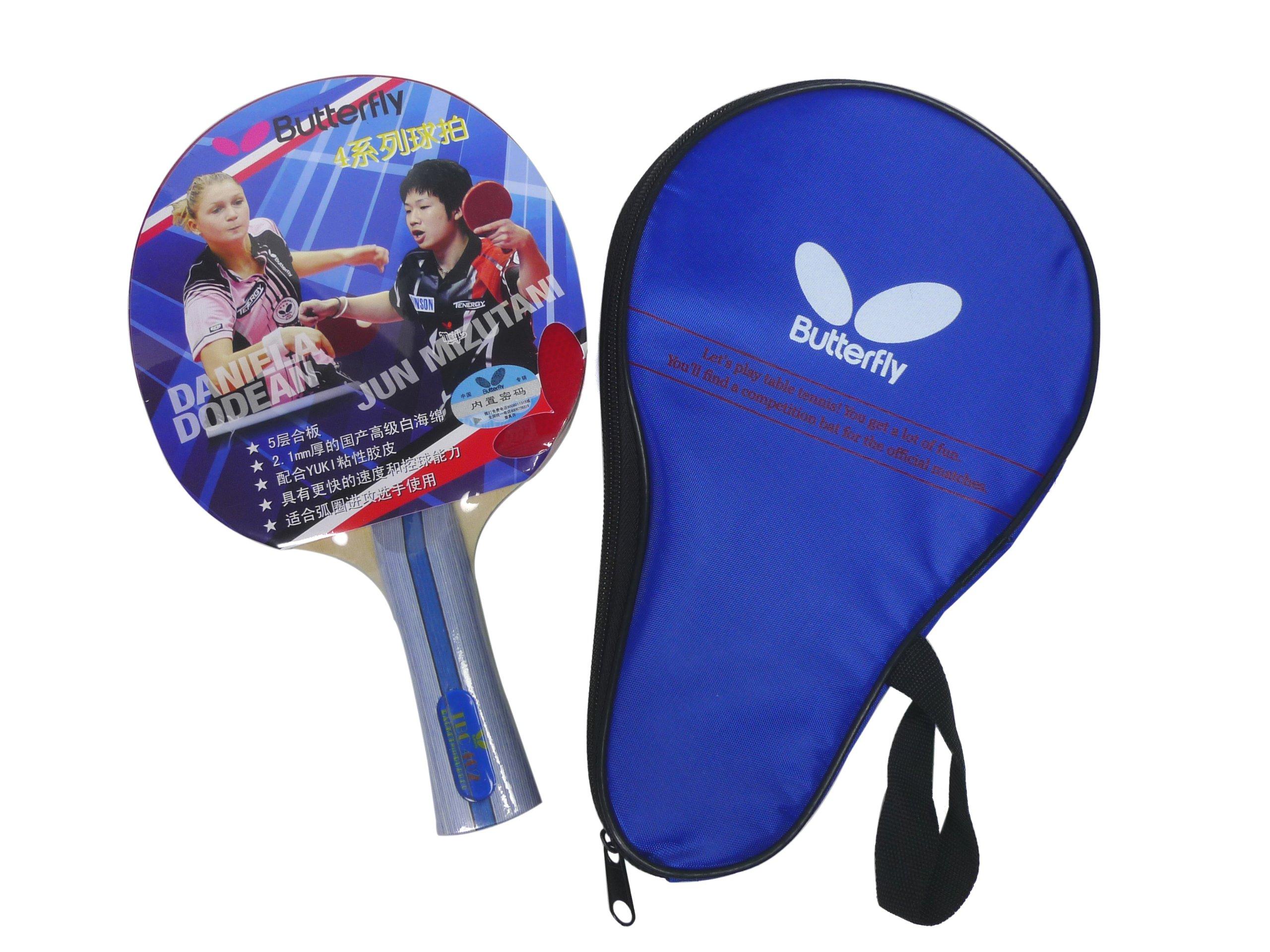 4adc2634f42 Galleon - Butterfly TBC 402 FL Shakehand Yuki Rubber Table Tennis Racket  Ping Pong Bat