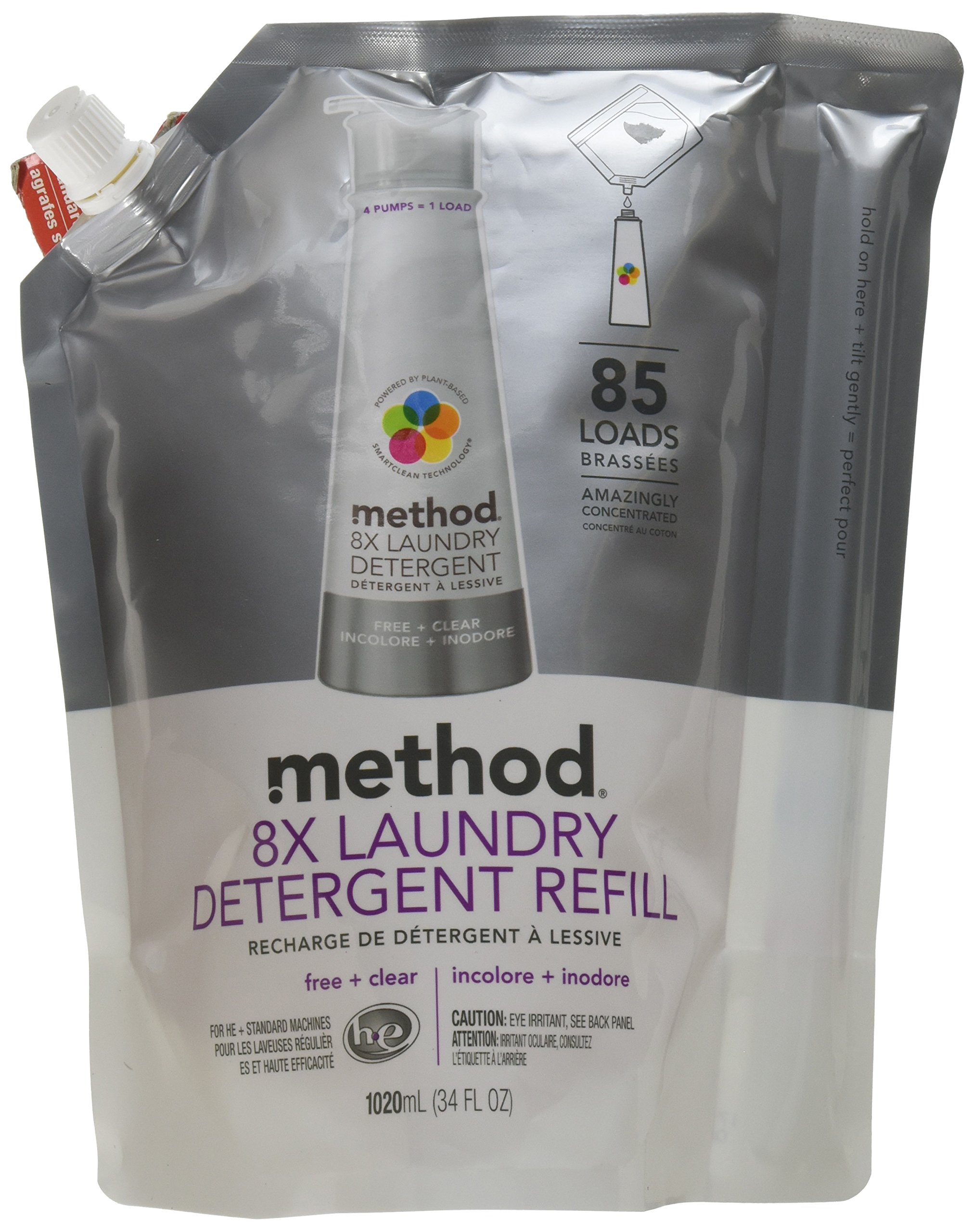 Method  8X Laundry Detergent Refill, Free + Clear, 34 Ounce, 85 Loads