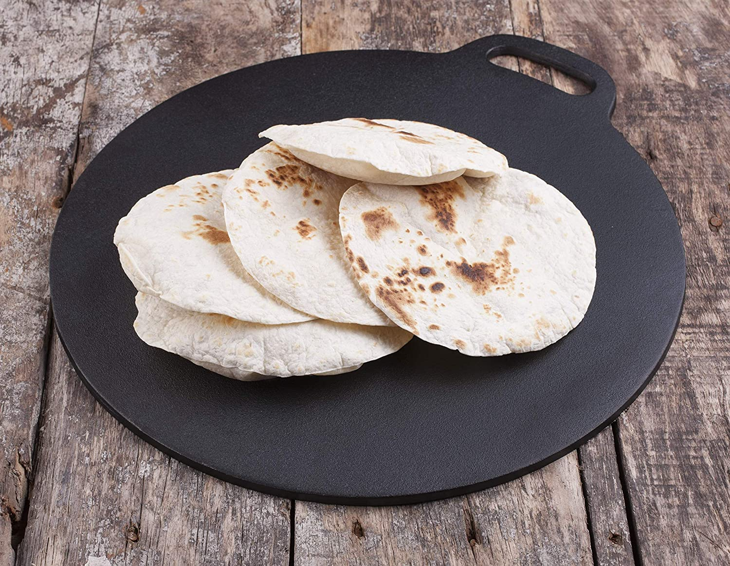 Victoria GDL-182 Cast Iron 15- Inch Tawa Comal Traditional Budare, Crepe Pan, Dosa Griddle Large Black