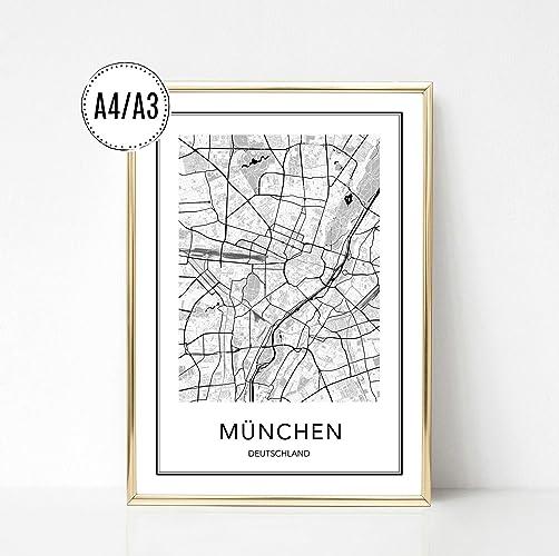 München Karte Schwarz Weiß.Poster Karte München Stadtplan City Map Kunstdruck Print