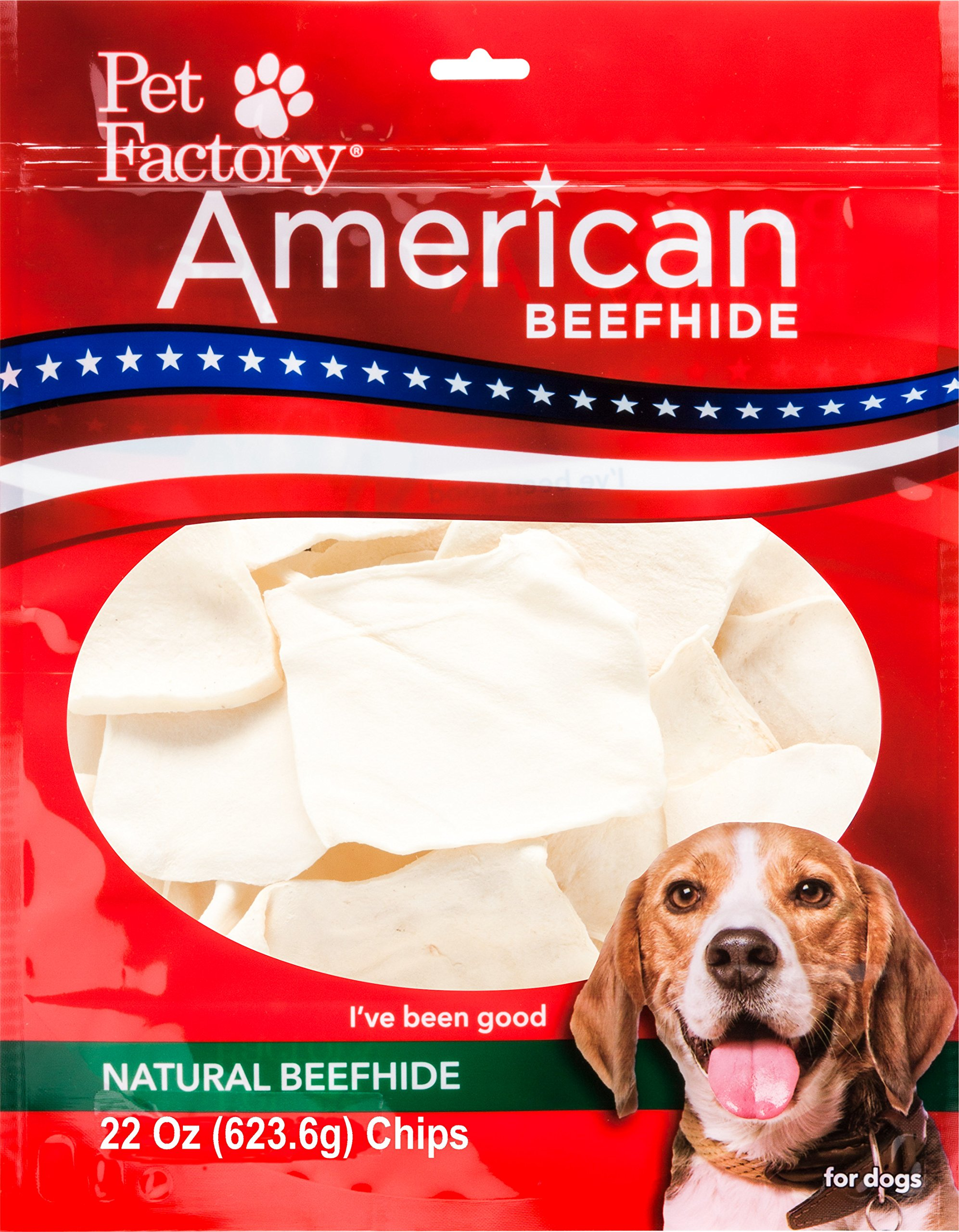 Pet Factory American Beefhide Chews 28322 Rawhide Natural Flavor Chips for Dogs. American Beefhide is a Great Natural Source for Protein and Assists in Dental Health. Large 22 Ounce Resealable Package