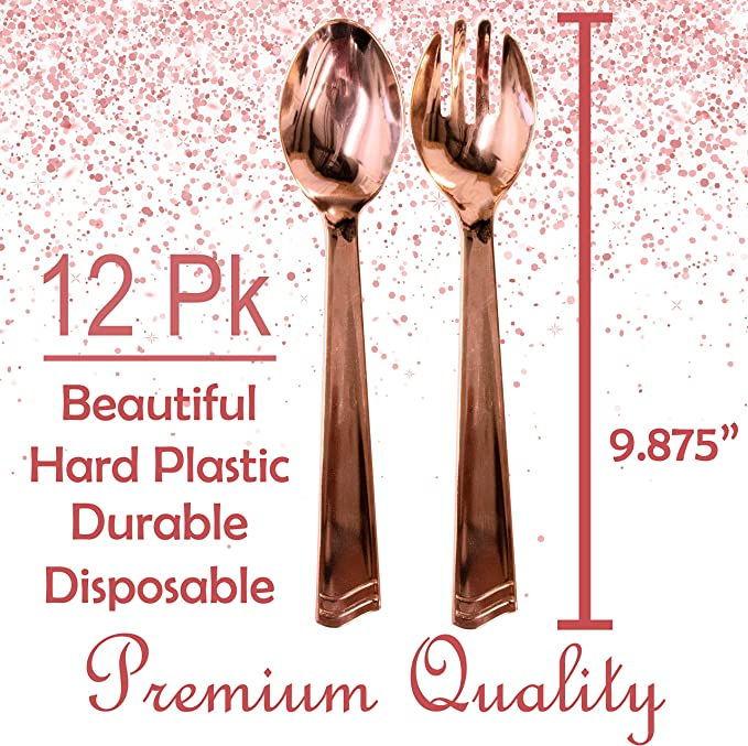 Rose Gold 7-34-Inch Plated Disposable Utensils Multipack 12-Piece