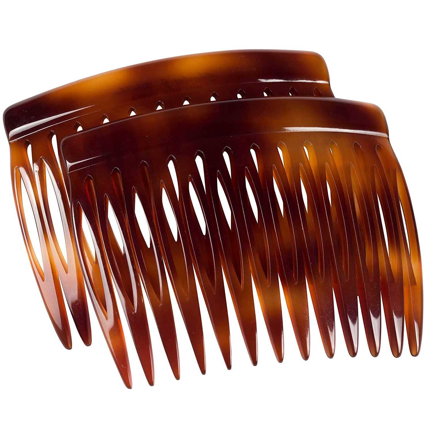 Charles J. Wahba Side Comb (Paired) - 13 Teeth (Mock Tortoise Color) Handmade in France : Decorative Hair Combs : Beauty